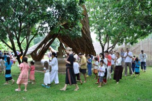 Panyaden School's Thai and foreign teachers and students in a Buddhist ceremony