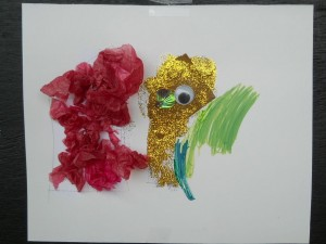 Panyaden School's kindergarten student's collage using recycled crepe paper