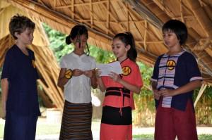 Ven. Jayasaro at Panyaden School Chiang Mai: presentation of wise habits by students
