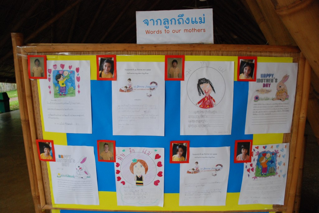 Board with Mother's Day messages from Panyaden School students