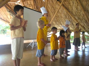 Learning about Buddhist virtues at Panyaden School Chiang Mai