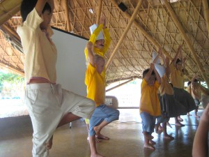 Kung Fu moves to help students remember Buddhist wise habits at Panayden School Chiang Mai