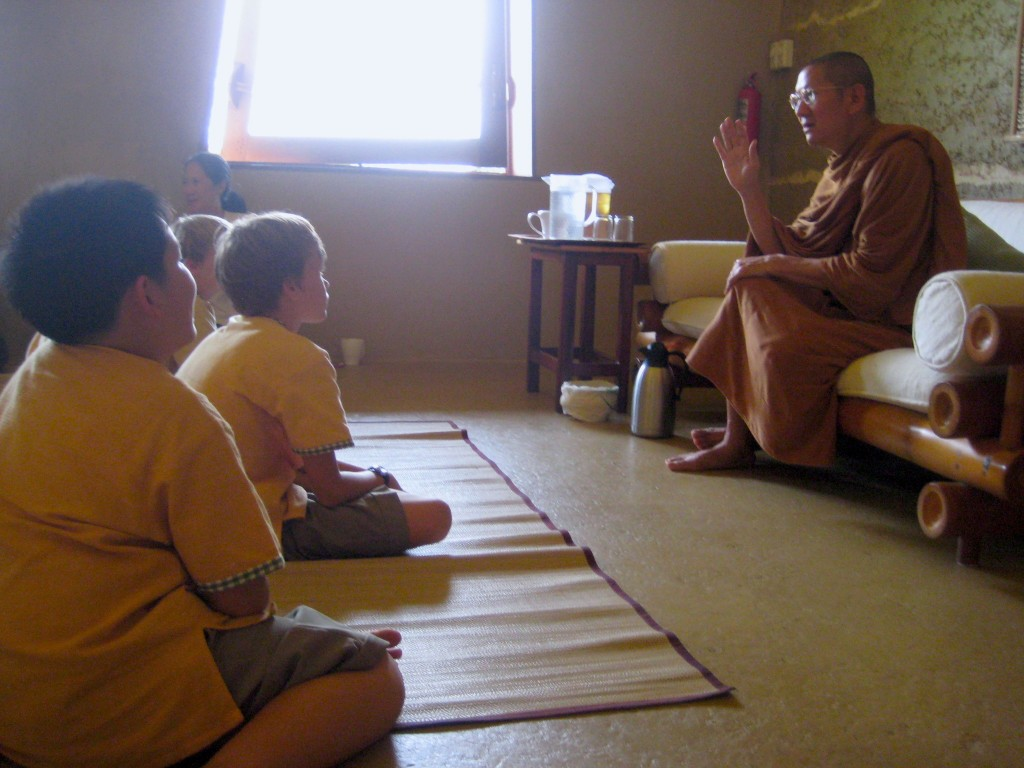 Ajahn Cheeradej giving a dhamma talk to students at Panyaden School Chiang Mai
