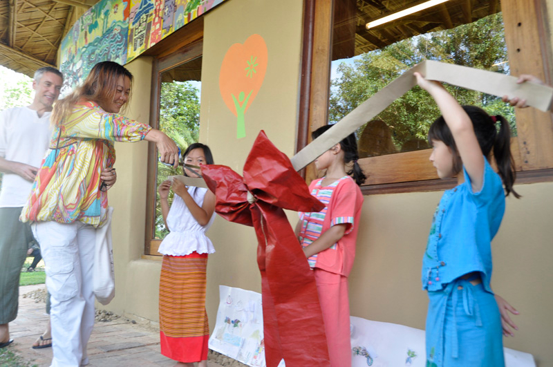 Ribbon cutting at Panyaden International School's My Project Grand Opening in Chiang Mai