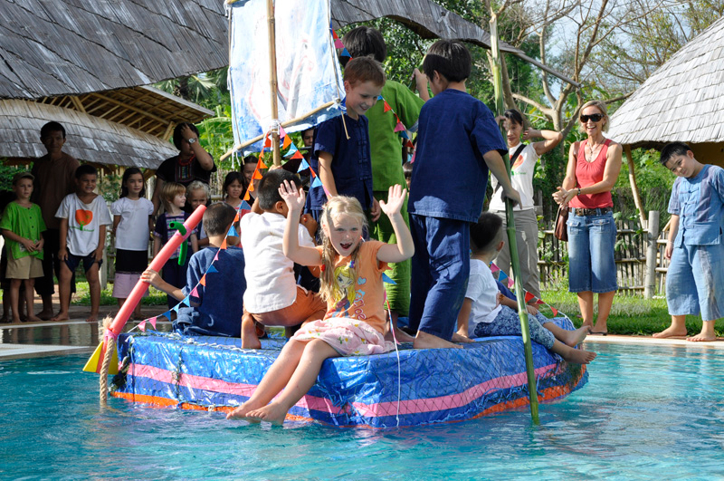 Panyaden School Chiang Mai student project: boat made of recycled water bottles