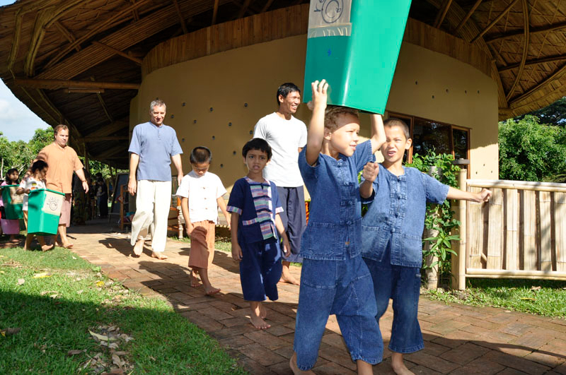 Panyaden School Chiang Mai: off for their green activity at the schoolyard