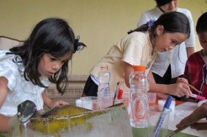 Students 'excavating' dinosaurs frozen in ice during Panyaden School's Science Day, Chiang Mai
