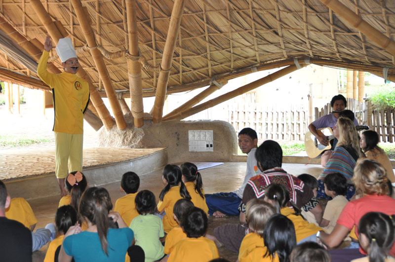 Students learn about wise habits at Panyaden School Chiang Mai with the help of our Kung Fu Chef