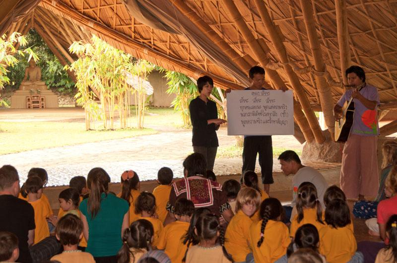 Singing songs help Panyaden School students remember wise habit, Sacca (Being truthful)