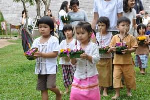 Kindergarten students join the Loy Krathong procession, Panyaden School Chiang Mai
