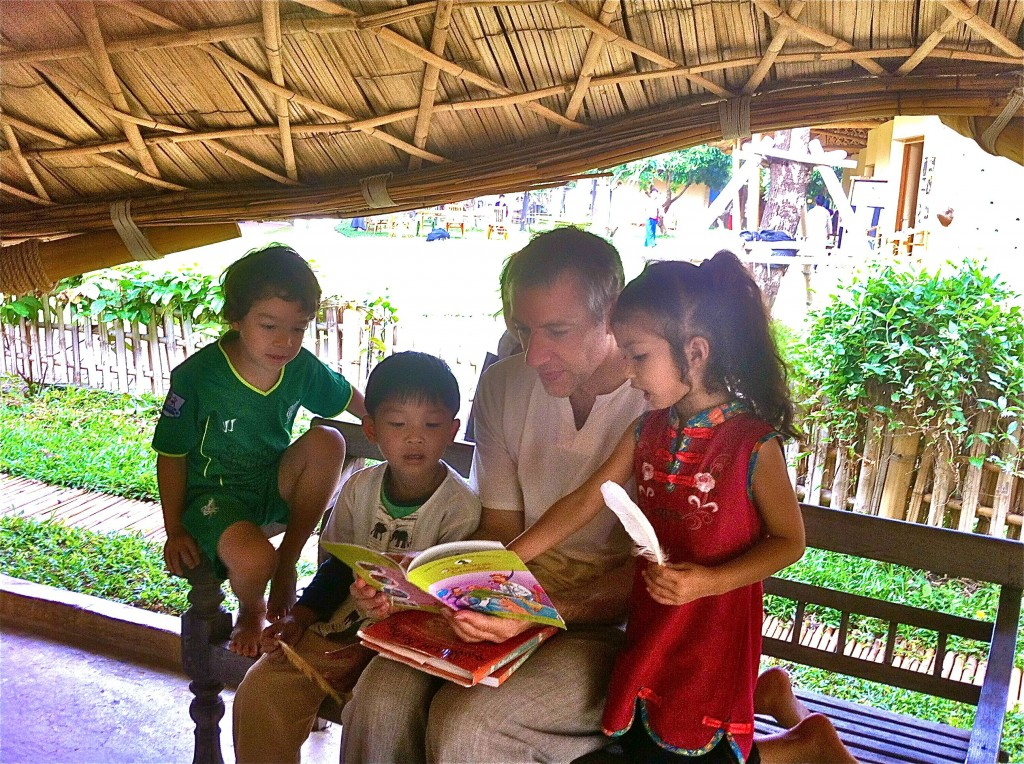 Reading with students at Panyaden School Chiang Mai