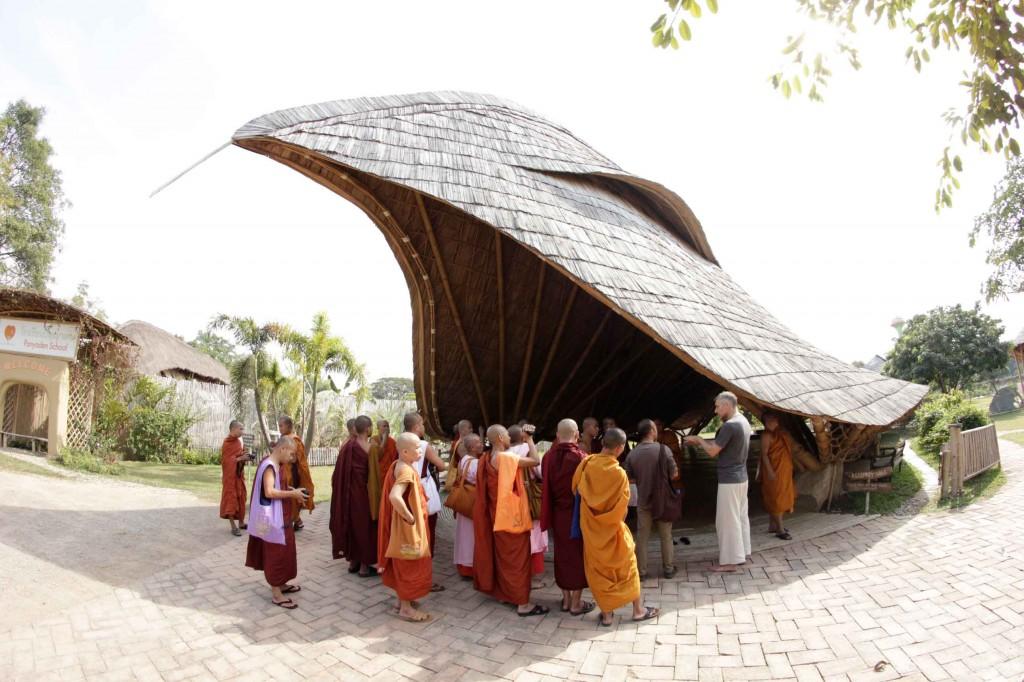 Shan Buddhist monks and nuns visiting Panyaden School in Chiang Mai