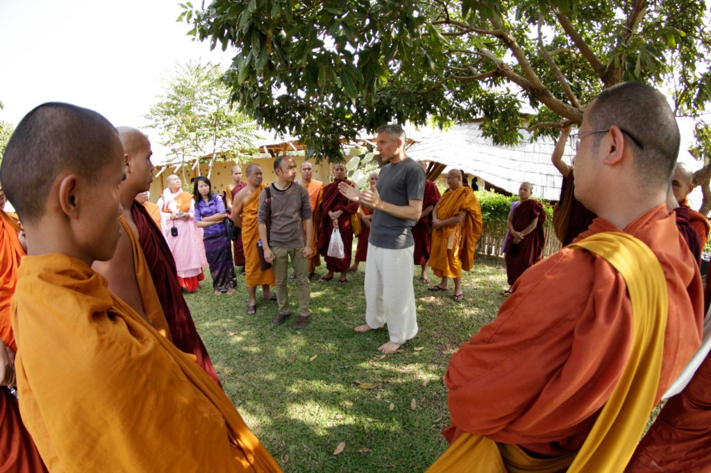 Panyaden School Director, Neil Amas taking Shan Buddhist clergy on tour of green school in Chiang Mai