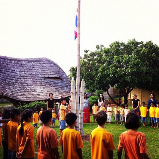 Bilingual Panyaden School morning assembly, Chiang Mai