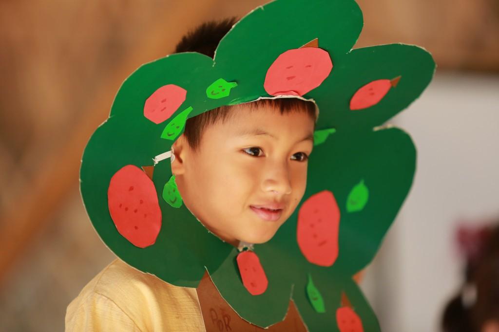 Student acting as a tree, Panyaden School