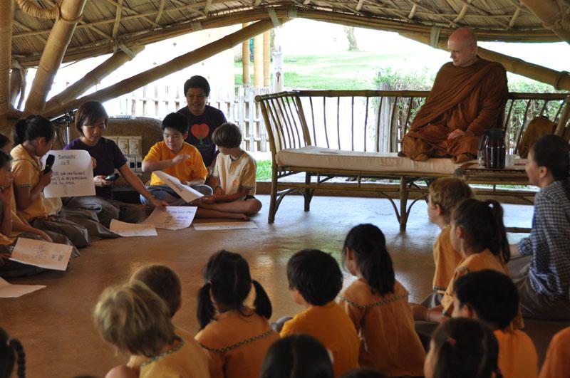 dsc_2027 Students with Ajahn Jayasaro at Panyaden School Chiang Mai