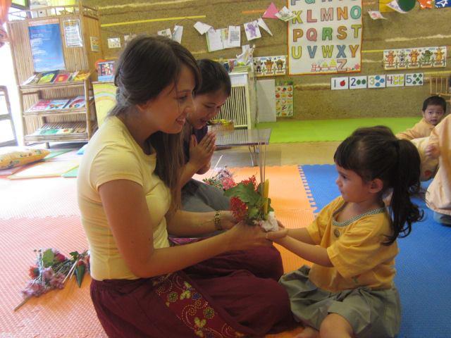 Nursery & K1 students present flowers on Teacher's Day, Panyaden School