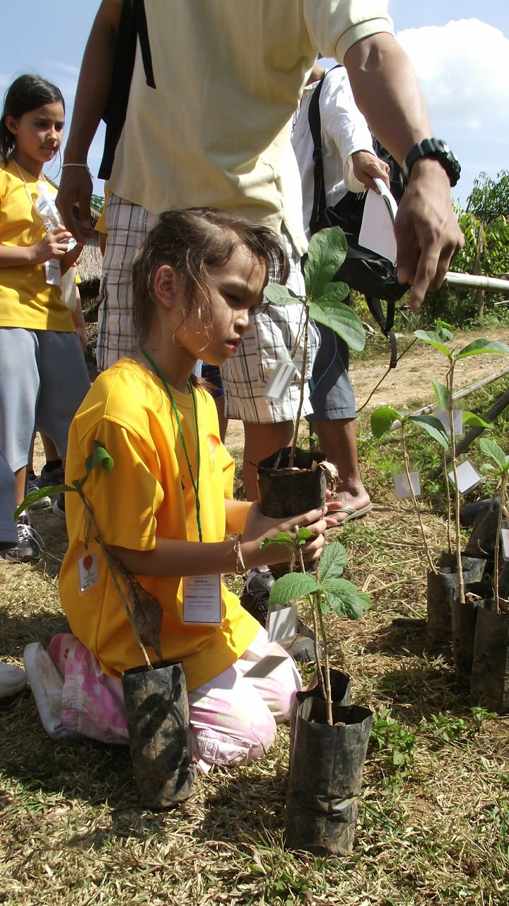 Tree planting by Panyaden School primary students to help reforestation in Chiang Mai