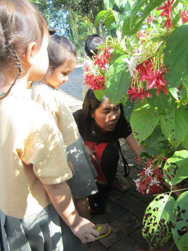 Kindergarten students on nature walk, Panyaden School