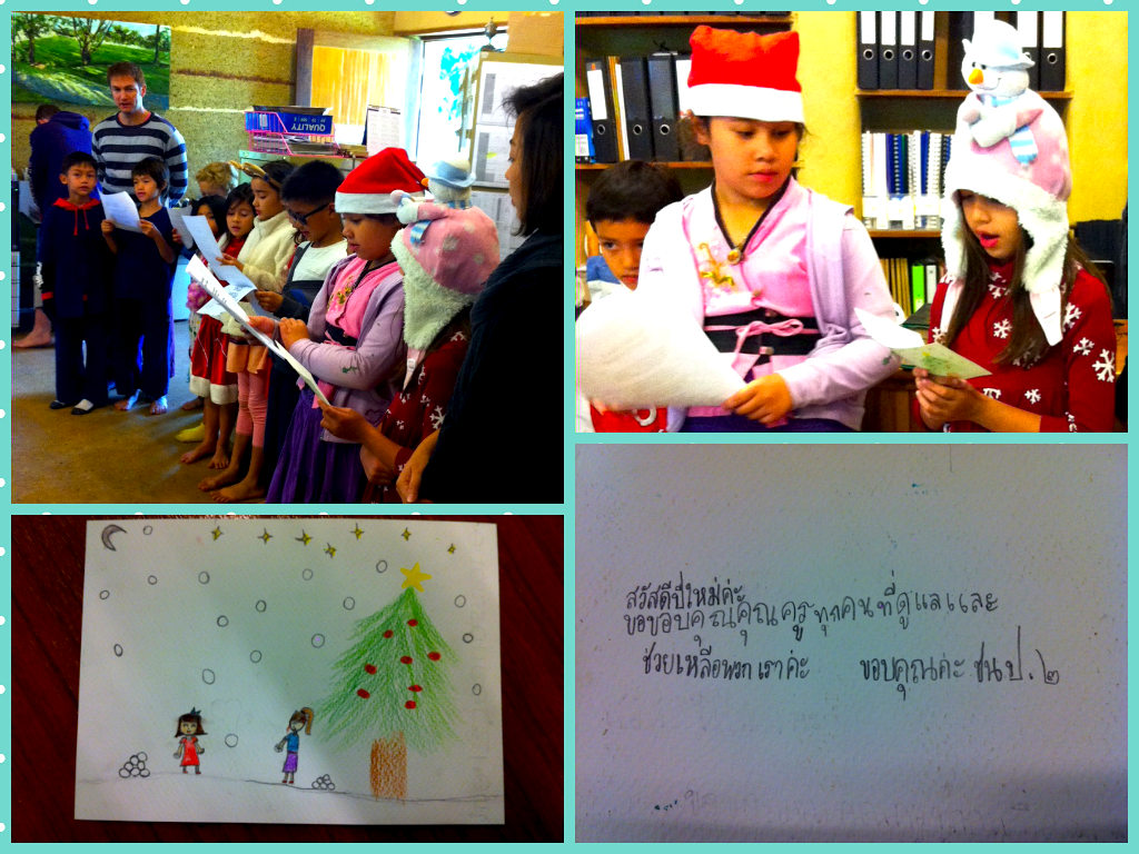 Christmas carols & card from Prathom 2, Panyaden School