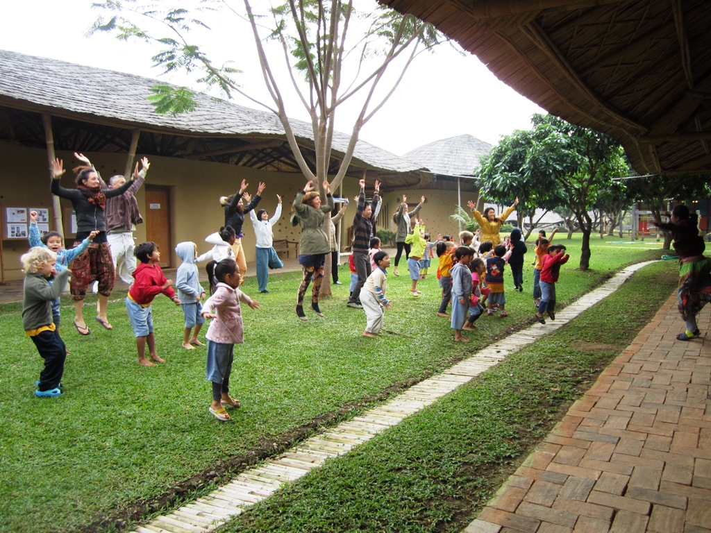 Impromptu aerobics session at Panyaden School Chiang Mai