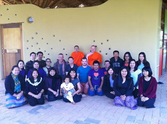 Ajahn Vajiramedhi with staff of Panyaden School Chiang Mai