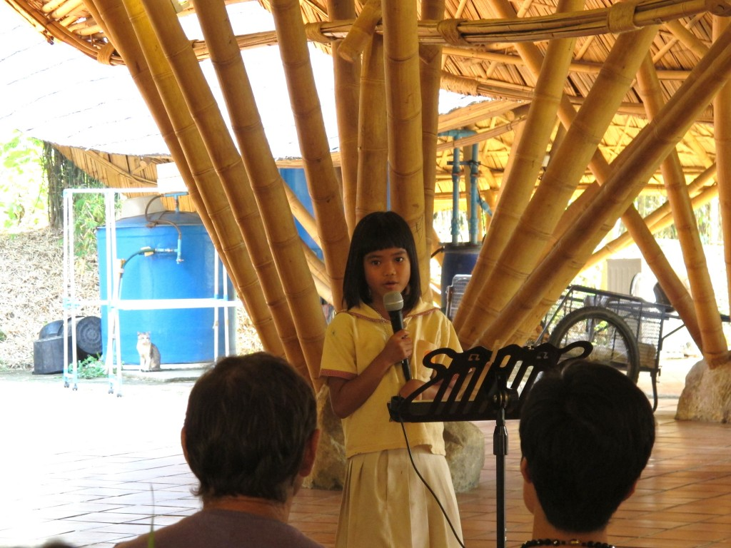 IMG_1416 Prathom student reading her poem, Panyaden School