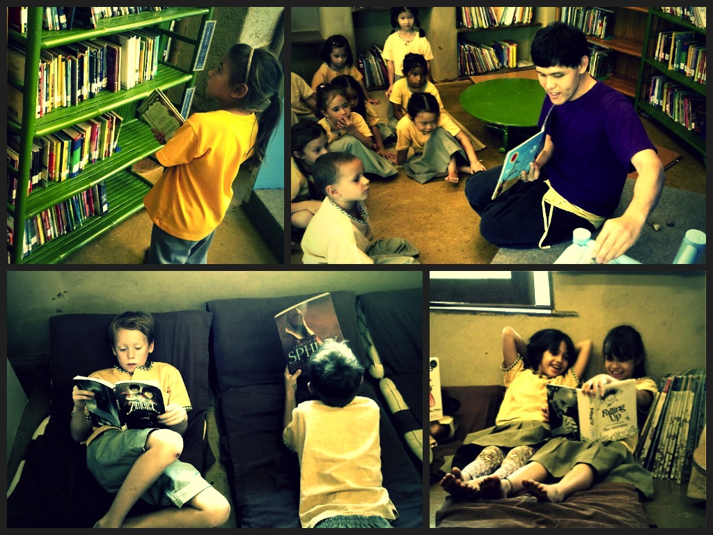 Students reading in Panyaden School Library 1