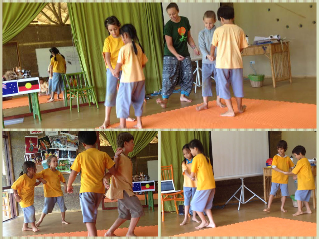 Panyaden Prathom 2 students doing the Australian Bush Dance