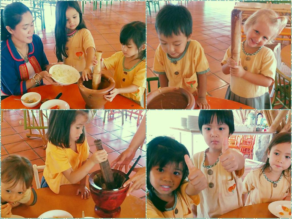 Panyaden Kindergarten students learn to make Thai papaya salad (som tam)