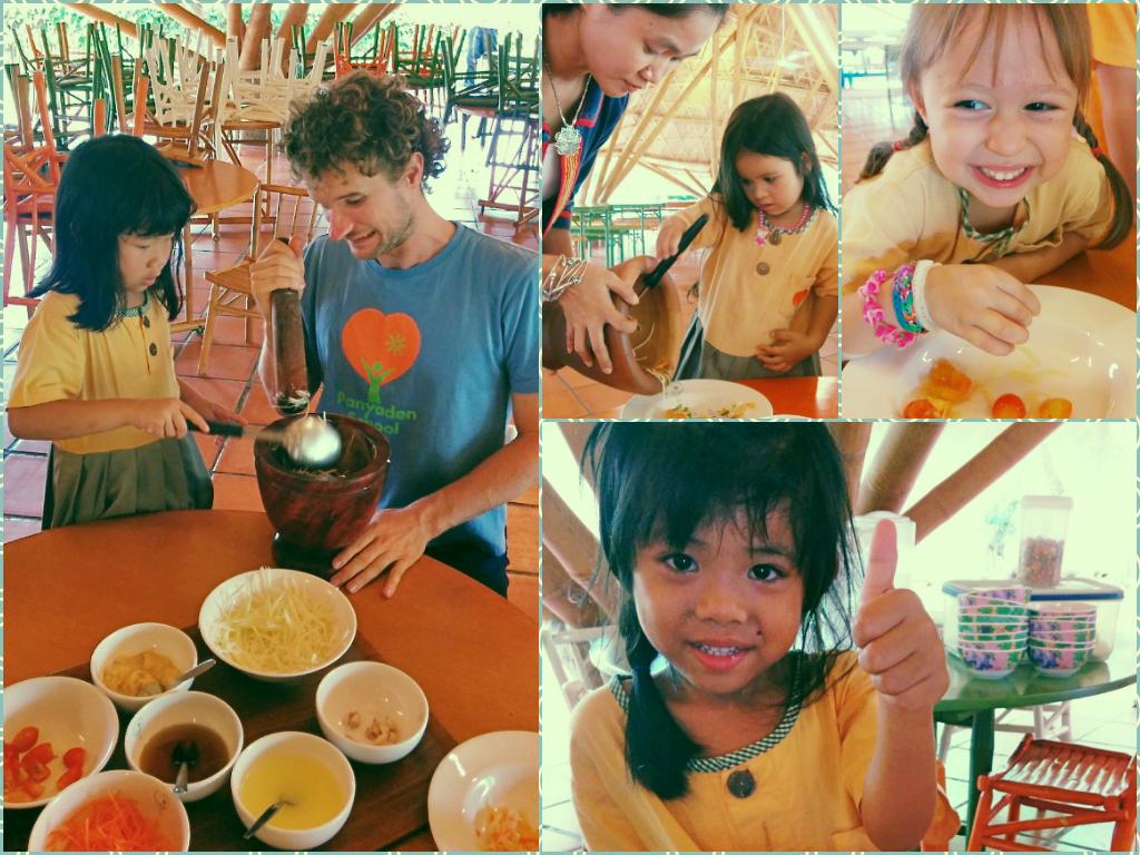 Kindergarten 2 students make Thai papaya salad, Panyaden School