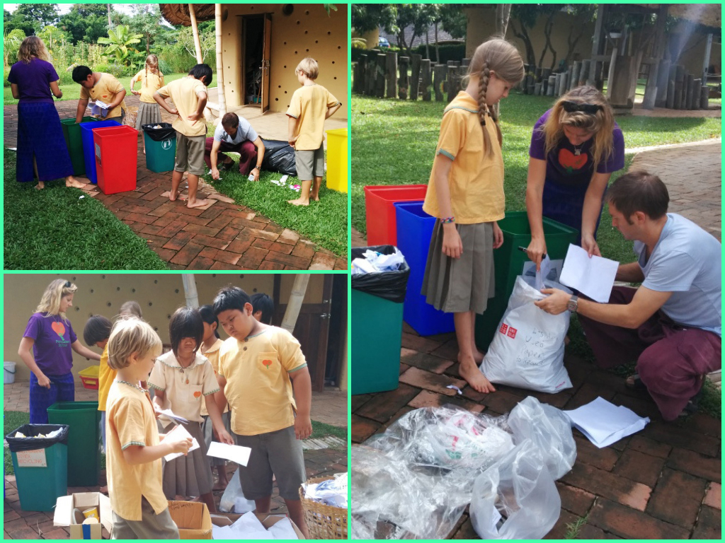 Prathom 4 collect garbage and waste for recycling, Panyaden School