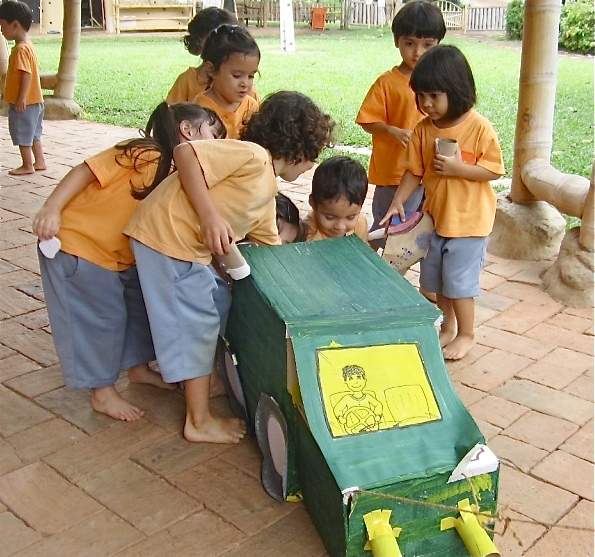 Kindergarten 1 made this garbage truck themselves to collect waste for recycling, Panyaden School
