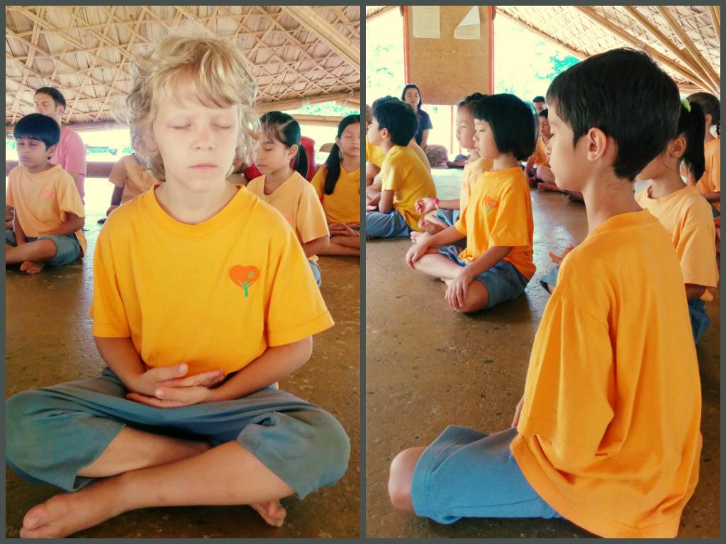 Prathom1 and 2 students meditating, Panyaden School
