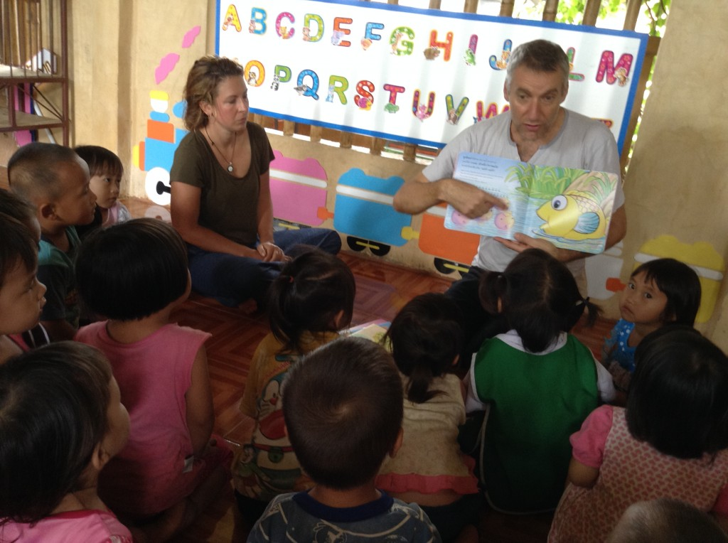 Story time at Chiang Rai village school by Panyaden School director, Neil Amas
