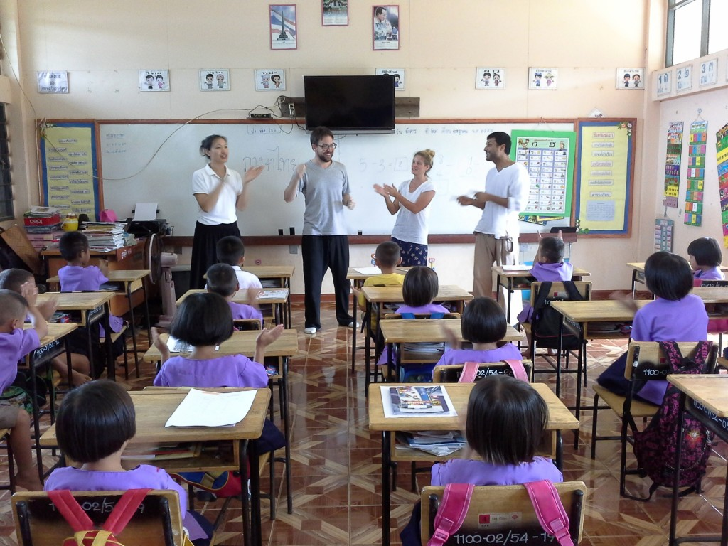Panyaden teachers visit to illage school Prathom class