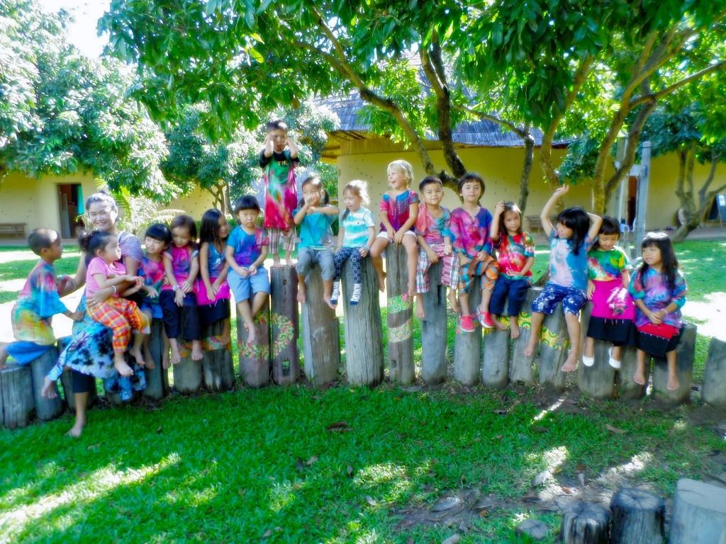 Panyaden School Kindergarten 2 class with their colourful T-shirts