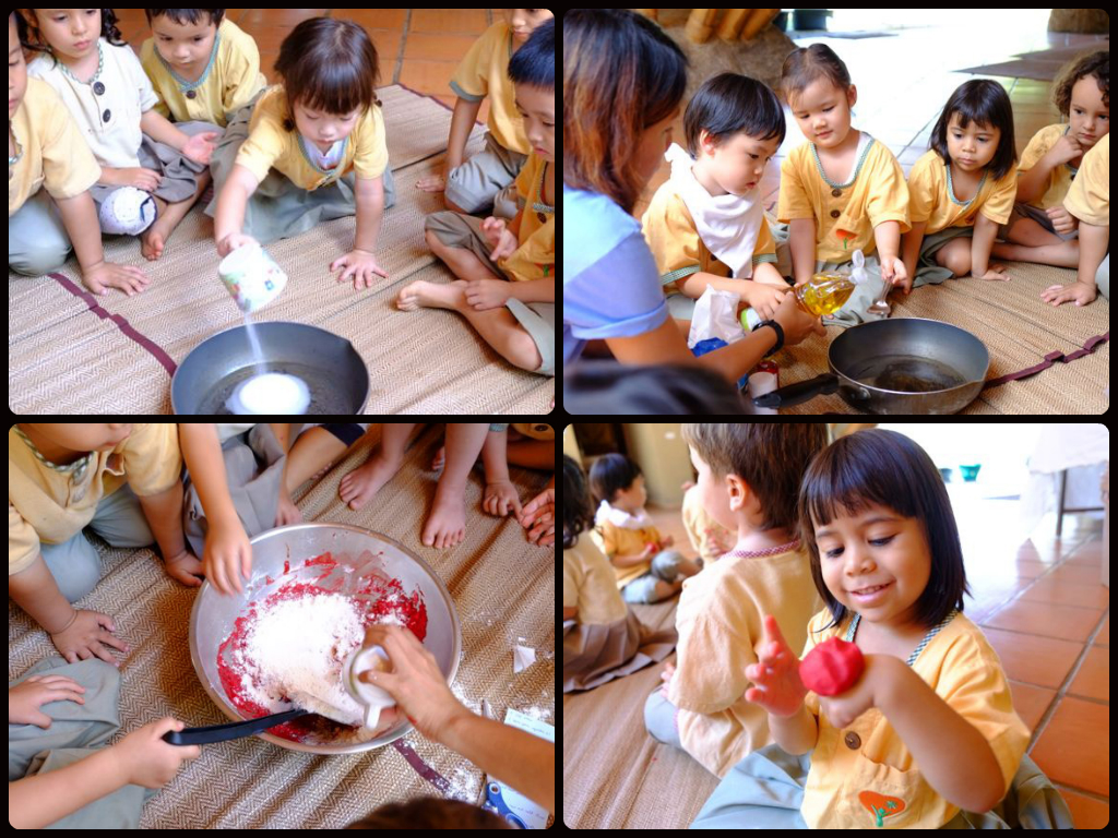 Panyaden K1 students make organic fun dough