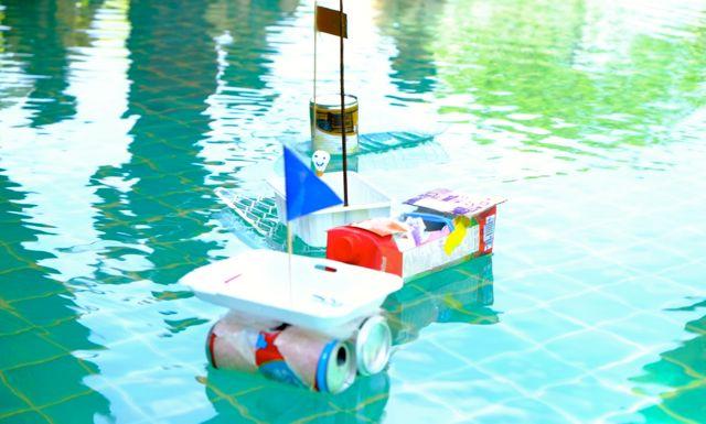 Boats made from used materials by Kindergarten 3, Panyaden School