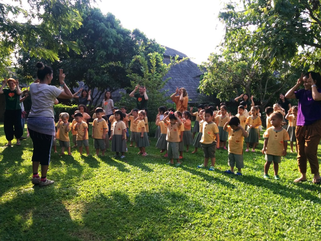 Fun morning exercises for Anuban students, Panyaden School