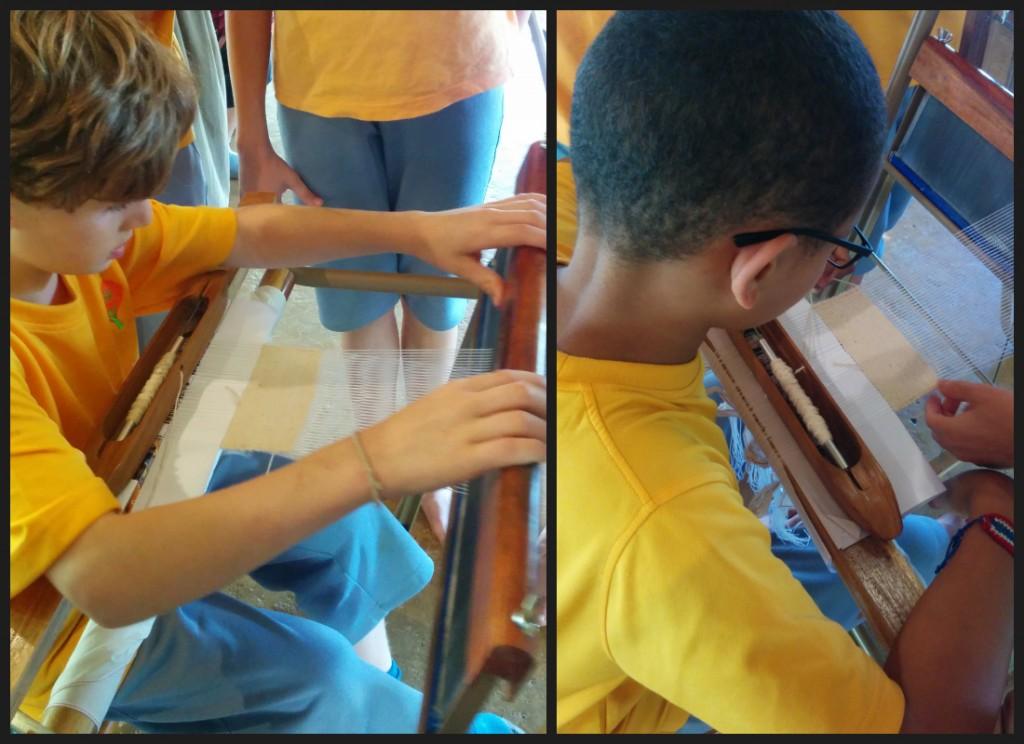 Panyaden Prathom students learning to weave cotton for Jula Kathina