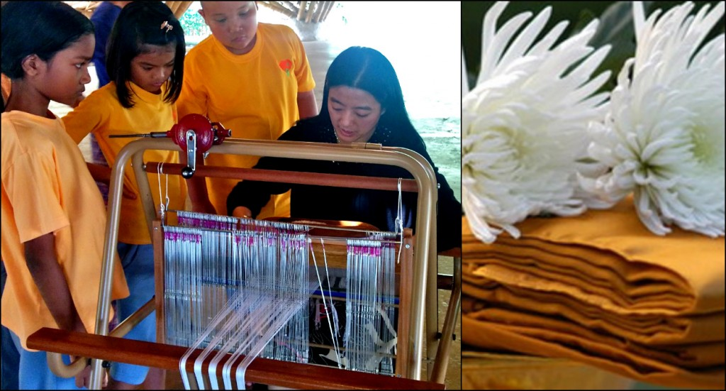 Panyaden School Prathom students learning to weave cotton the traditional way. Photo of Kathin by https://verythai.co.uk/news/24-37/royal-katina-uk-buddhist-robe-ceremonies-2010.html.