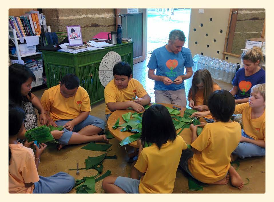 Prathom 4 prepare for Loy Krathong, Panyaden School Chiang Mai