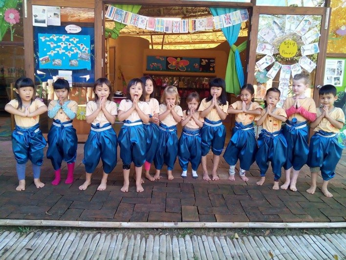 Panyaden School Kindergarten 2 students dressed in jong kra ben, traditional Thai costume