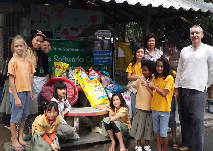Panyaden team with donations for Santisook Dog & Cat Rescue center, Chiang Mai