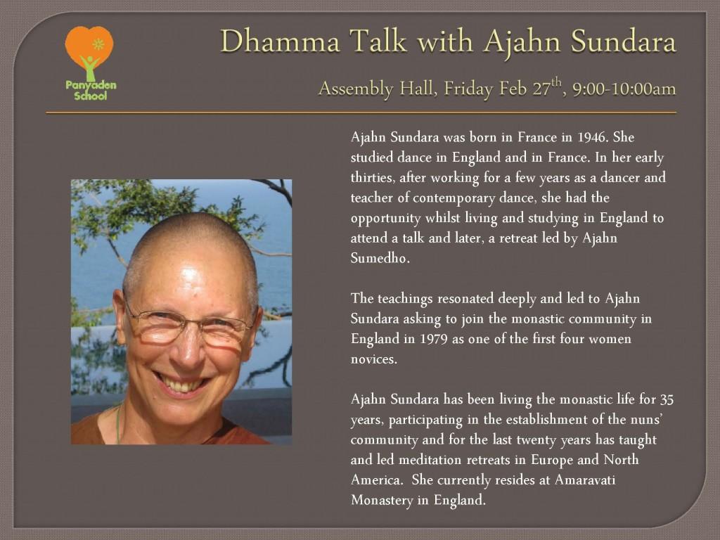 Dhamma Talk with Ajahn Sundara_poster, Panyaden School Chiang Mai