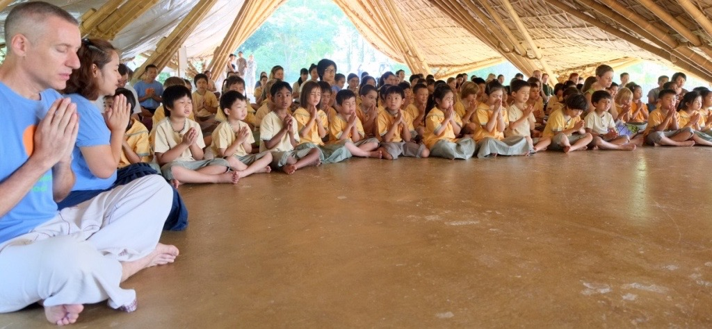 Panyaden School Director and Thai Head Teacher at morning assembly with students
