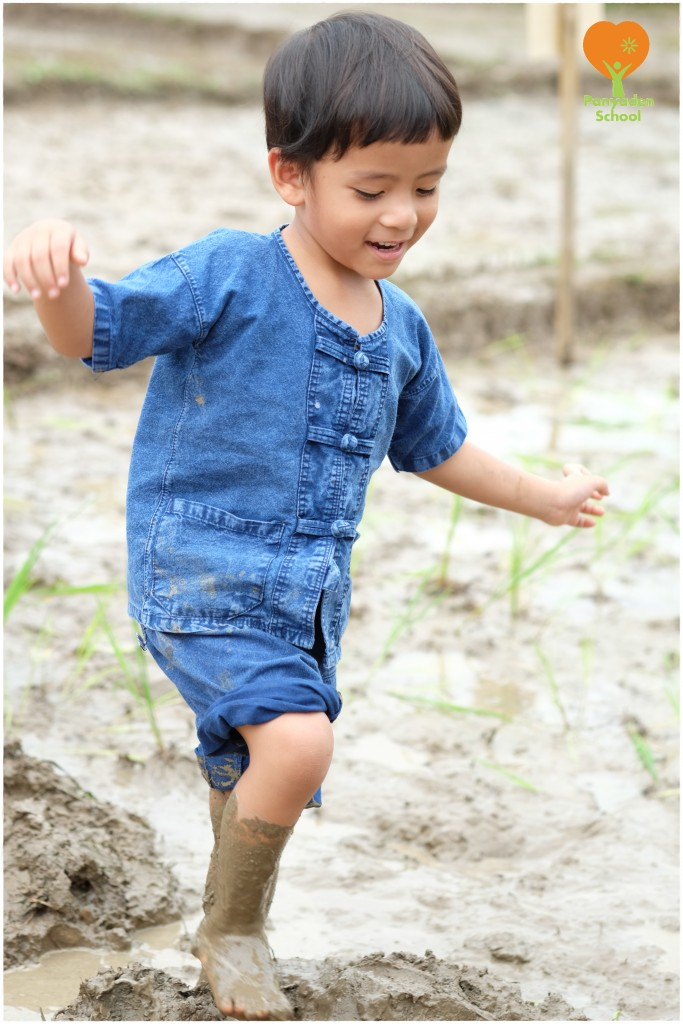 DSCF9044 Getting muddy! Mother's Day Rice planting, Panyaden School Chiang Mai
