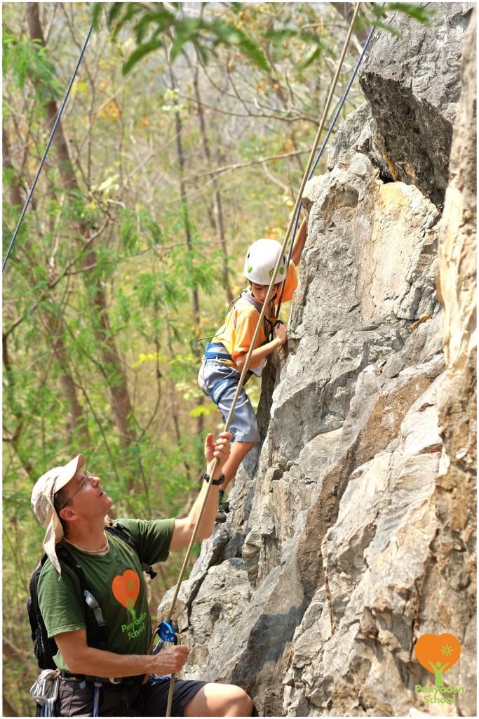 DSCF4127 Panyaden School Head Teacher, Michel Thibeault rock climbing with Grade 3 (P3) students