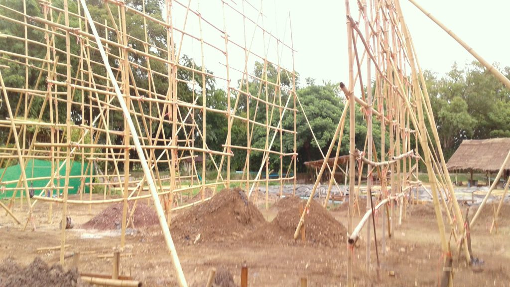 Scaffolding up, Panyaden School's new assembly/sports hall in construction, Chiang Mai